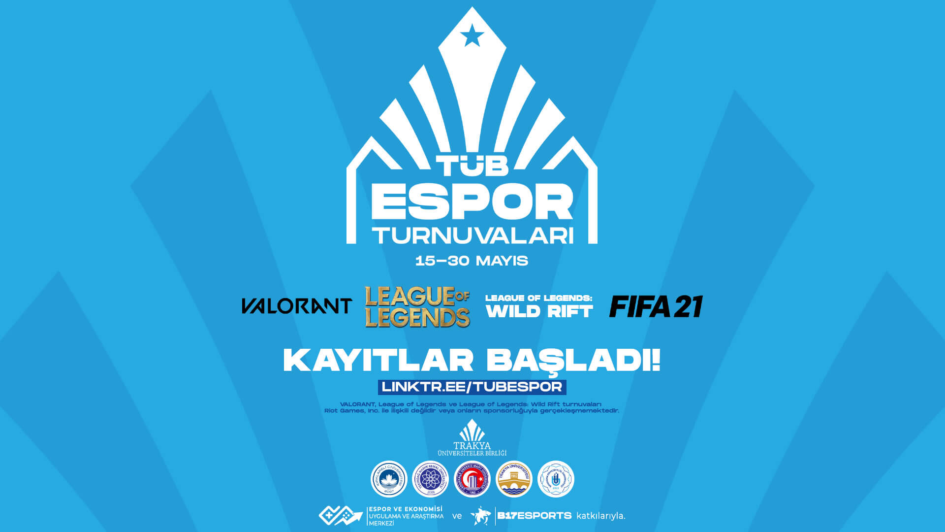 TÜB Espor Turnuvaları 15 Mayıs'da başlıyor!