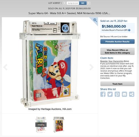 1.560.000$'a satılan Super Mario 64'ün mühürlü kopyası