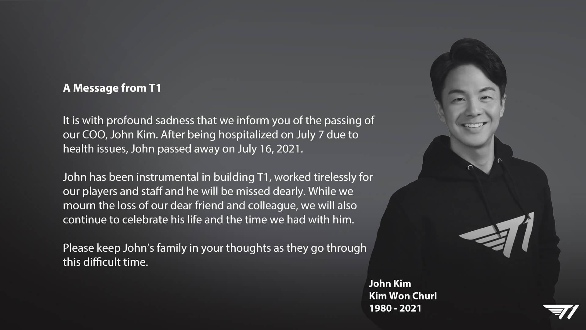 T1 ekibinin acı günü! COO John Kim hayatını kaybetti