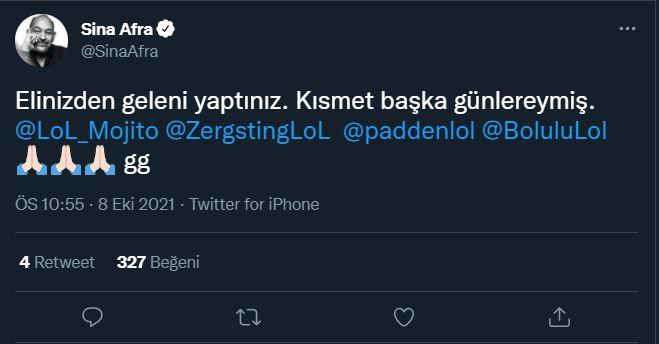 Sina Afra'dan Galatasaray Espor'a tebrik